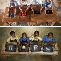 【上】ジャン・クラウドさん(右から2人目)、クラリスさん(同3人目)と在校生で、10年前と同じ場所、構図で撮影=(Mayumi Ruiさん提供)【下】2009年5月にルワンダ・ビハラグ小学校で撮影された「hope(希望)を消さないで」=ACジャパン提供