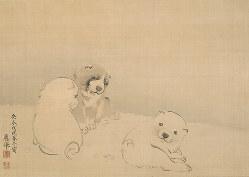 円山応挙《狗子図》安永7(1778年)、敦賀市博物館蔵、東京展:後期展示、京都展:前期展示