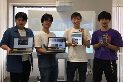 さささんぽ編集部の学生=名古屋市中村区で