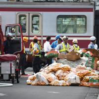 集められた、電車と衝突したトラックの積荷とみられる果物=横浜市神奈川区で2019年9月5日午後4時13分、滝川大貴撮影