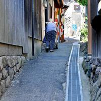 オンバを押して島の坂道を歩くおばあちゃん=高松市男木町で、山田尚弘撮影