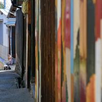 坂道でオンバを止め、一休みするおばあちゃん。民家の壁面は瀬戸内国際芸術祭の際、カラフルに塗装された=高松市男木町で、山田尚弘撮影