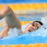 女子200メートル自由形決勝を制した白井璃緒=東京・辰巳国際水泳場で2019年9月7日、梅村直承撮影