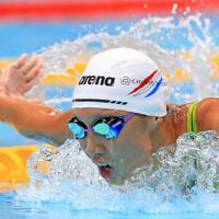 女子100メートルバタフライ決勝を制した相馬あい=東京・辰巳国際水泳場で2019年9月7日、梅村直承撮影
