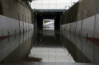 An underpass is submerged due to rain caused by powerful Typhoon Faxai in the city of Ichikawa, Chiba Prefecture, on the morning of Sept. 9, 2019. (Mainichi/Masahiro Ogawa)