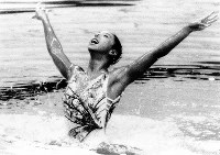 1988 Seoul Olympics -- Japan's Mikako Kotani competes to capture the bronze medal in individual synchronized swimming.