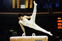 1988 Seoul Olympics -- Daisuke Nishikawa, of Japan, competes in the men's gymnastics, scoring a perfect 10, just like colleague Koichi Mizushima in the pommel horse of the team event. At the time, Nishikawa was a third-grade student at Seifu High School in the city of Osaka.