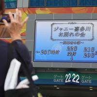 ジャニー喜多川さんのお別れの会が開かれる東京ドーム前には、一般の参列者も集まっていた=東京ドームで2019年9月4日午前11時8分、喜屋武真之介撮影