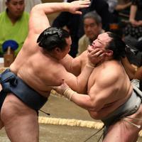 北勝富士を攻める鶴竜(左)=東京・両国国技館でで2019年9月9日、丸山博撮影