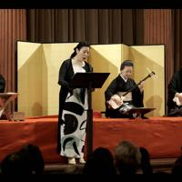 三味線を弾く四世今藤長十郎さん(右から2人目)と共演するメゾ・ソプラノ歌手の日野妙果さん=ウィーンで2019年9月6日、マックス・バルナ-氏撮影