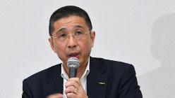 記者会見で自身の辞任について説明する日産自動車の西川広人社長=2019年9月9日、宮間俊樹撮影