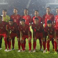 【日本-ミャンマー】ミャンマーのスターティングメンバー=ミャンマー・ヤンゴンで2019年9月10日、AP