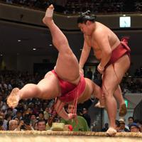 阿炎(右)がはたき込みで大栄翔を降す=東京・両国国技館で2019年9月10日、北山夏帆撮影
