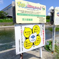 事故現場では、既存の看板の下に「川に気をつけて」と書かれた看板が新たに設置された=大阪府高槻市で2019年9月10日午後1時36分、土田暁彦撮影