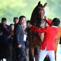 ホースインスペクションで馬の状態を確認する獣医師の天谷友彦さん=東京都世田谷区で日、吉田航太撮影