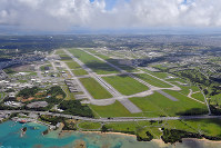 In this Sept. 16, 2018 file photo, the U.S. Air Force's Kadena base is seen in Okinawa Prefecture. (Mainichi/Michiko Morizono)