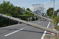 Electric poles are seen toppled by strong winds triggered by Typhoon Faxai in Oamishirasato, Chiba Prefecture, on Sept. 9, 2019. (Mainichi/Mamoru Kanazawa)