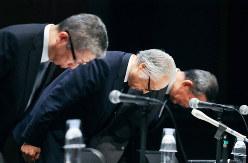 かんぽ生命保険の不正販売を謝罪する日本郵政グループ幹部
