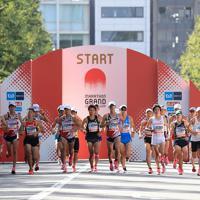 一斉にスタートする男子の選手たち=東京都新宿区で2019年9月15日午前8時52分、梅村直承撮影
