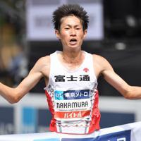 男子1位でフィニッシュする中村匠吾=東京都港区で2019年9月15日、宮間俊樹撮影