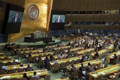 国連総会議場=AP