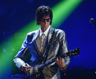 In this April 14, 2018, file photo, Ric Ocasek, from the Cars, performs during the Rock and Roll Hall of Fame Induction ceremony in Cleveland. (AP Photo/David Richard)