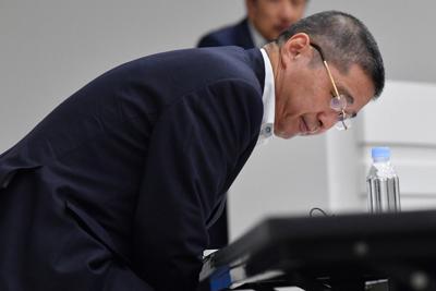 記者会見で自らの辞任について説明した日産自動車の西川広人社長=2019年9月9日、宮間俊樹撮影