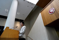 Hong Kong Chief Executive Carrie Lam speaks to reporters during a press conference at the government building in Hong Kong, on Sept. 17, 2019. (AP Photo/Vincent Yu)