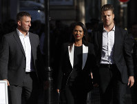 Ant-Brexit campaigner Gina Miller arrives at the Supreme Court in London, on  Sept. 18, 2019. (AP Photo/Alastair Grant)