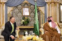 U.S. Secretary of State Mike Pompeo, left, meets with Saudi Arabia's Crown Prince Mohammed bin Salman in Jeddah, Saudi Arabia, on Sept 18, 2019. (Mandel Ngan/Pool Photo via AP)