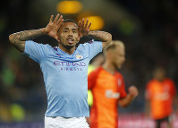 Manchester City's Gabriel Jesus celebrates after scoring his side's third goal during the Group C Champions League soccer match between Manchester City and FC Shakhtar Donetsk in Kharkiv, Ukraine, on Sept. 18, 2019. (AP Photo/Efrem Lukatsky)