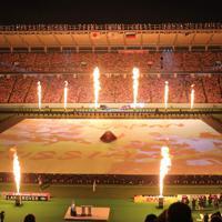 開幕戦前、大きな火柱が上がった開会式=東京・味の素スタジアムで2019年9月20日、宮武祐希撮影