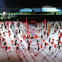 開会式で行われたパフォーマンス=東京・味の素スタジアムで2019年9月20日、宮武祐希撮影