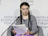 This Jan. 25, 2019 file photo shows climate activist Greta Thunberg during a session of the World Economic Forum in Davos, Switzerland. (AP Photo/Markus Schreiber)