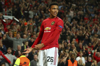 Manchester United's Mason Greenwood celebrates scoring his side's first goal during the Europa League Group L soccer match between Manchester United and Astana at Old Trafford stadium in Manchester, England on Sept. 19, 2019. (AP Photo/Dave Thompson)