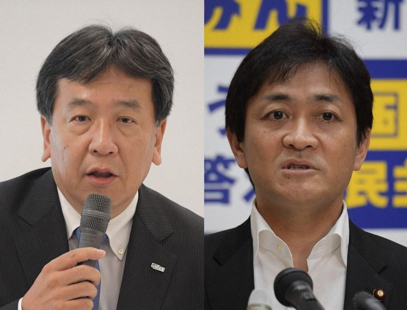 立憲民主党の枝野幸男代表(左)と国民民主党の玉木雄一郎代表