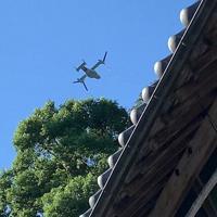 徳島県牟岐町上空を飛ぶオスプレイを写した動画のワンカット=藤元雅文さん提供