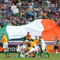 【アイルランド-スコットランド】試合前に盛り上がるアイルランドのファンたち=横浜・日産スタジアムで2019年9月22日、宮武祐希撮影