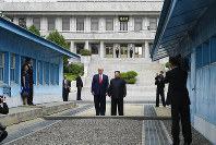 In this June 30, 2019, file photo, President Donald Trump meets with North Korean leader Kim Jong Un at the border village of Panmunjom in the Demilitarized Zone, South Korea. (AP Photo/Susan Walsh)