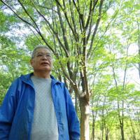広域防災基地の中の「小さな森」に立つ青木栄司さん=東京都立川市で2019年6月13日