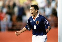 1996 Atlanta Olympics -- Teruyoshi Ito, of the Japanese men's soccer team, celebrates after scoring the winning goal against Brazil. The big upset by Japan is known in the country as