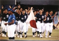 1996 Atlanta Olympics -- The Japanese baseball team, which made it through the preliminary round of the competition in third place with four wins and three losses, is seen. The team went on to defeat the United States in the semifinal, but lost the final against Cuba and had to settle for the silver medal. (Mainichi/Jun Sekiguchi)