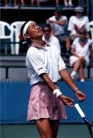 1996 Atlanta Olympics -- Japan's Kimiko Date, who lost in the quarterfinal in the singles in the women's tennis, is seen. (Mainichi/Yoshihiko Okamoto)