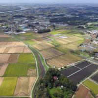 夫婦が死亡しているのが見つかった住宅(手前中央)=茨城県境町で2019年9月23日午後0時35分、本社ヘリから北山夏帆撮影