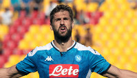 Napoli's Fernando Llorente celebrates after scoring during during the Italian Serie A soccer match between Lecce and Napoli at the Via del Mare stadium in Lecce, Italy, on Sept. 22, 2019. (Marco Lezzi/ANSA via AP)