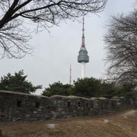 ソウルのシンボル、Nソウルタワー(奥)を目指しながら歩く南山区間=ソウル市で2019年3月15日、大澤重人撮影