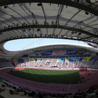 世界陸上の会場となるハリーファ国際スタジアム=カタール・ドーハで2019年9月24日、久保玲撮影