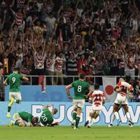 【日本-アイルランド】後半、逆転のトライを決めた福岡(右から4人目)に駆け寄る日本代表選手たち=静岡スタジアムで2019年9月28日、竹内紀臣撮影