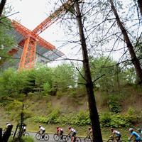 森林公園の中に広島空港の人工構造物がそびえる=JBCF提供