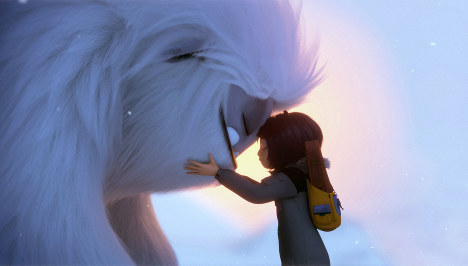This image released by DreamWorks Animation shows Everest the Yeti, left, and Yi, voiced by Chloe Bennet, in a scene from